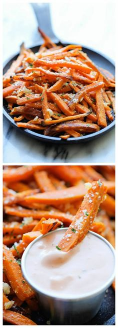 Baked Garlic Sweet Potato Fries, sides, appetizer, foods, healthier than Russet