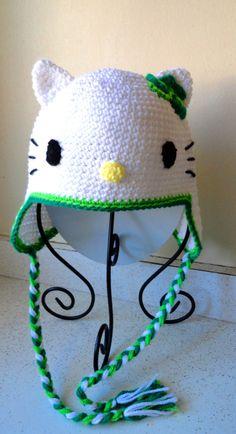 Crochet Hello Kitty & Shamrock Earflap Beanie Hat - Etsy $22.00