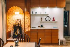 Crockery unit along with pooja room—origami spaces Pooja Room Door Design, Home Room Design, Dining Room Design, House Design, Dining Area, Dining Table, Flat Interior Design, Temple Design For Home, Room Partition Designs