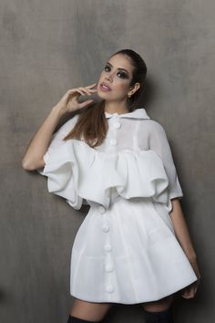 Ruffle Blouse, Dresses With Sleeves, Long Sleeve, Tops, Women, Fashion, Hairstyles, Gowns With Sleeves, Moda