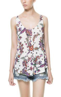 CAMISETA MANGA SISA ESTAMPADA - Camisetas - TRF - ZARA México Zara, Floral Tops, Free People, T Shirt, Women, Fashion, T Shirts, Hipster Stuff, Sleeve