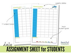 Assignment sheets for students