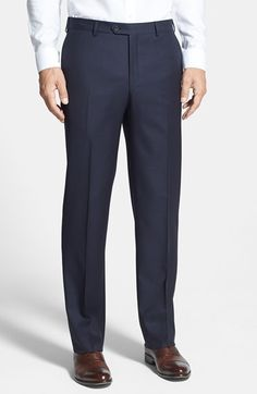 $315, Navy Wool Dress Pants: Pal Zileri Flat Front Wool Trousers. Sold by Nordstrom. Click for more info: https://lookastic.com/men/shop_items/80957/redirect