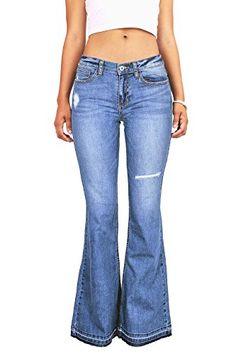 Sneak Peak Womens Juniors Bell Bottom Low Rise Jeans w Knee Rip 3 Denim *** See this great product.