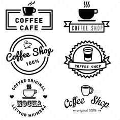 Buy Set of Banner Label Coffee Designs by gbyzy on GraphicRiver. vector set of banner label coffee design vintage Coffee Icon, Coffee Set, Cafe Logos, Coffee Shop Logo, Coffee Cup Design, Logo Sign, Coffee Photography, Clip Art, Art Logo