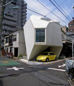 Architecture, Modern Japanese Home Structure Collection with Inspiring Design: Small Side Road House Design With Open Garage In Japanese House Design Equipped With Unique Small Garage Space Ideas Modern Japanese Architecture, Japanese Home Design, Japanese House, Amazing Architecture, Interior Architecture, Tokyo Architecture, Japanese Modern, Futuristic Architecture, Interior Design