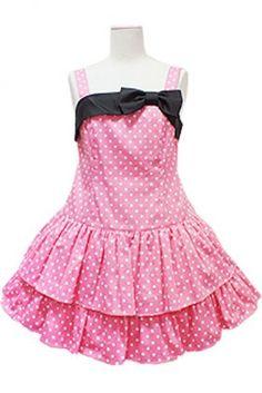 2014 Fashion Women Dots Cotton Spaghetti Strap Sweet Lolita Dress With Black Bow, ocrun.com