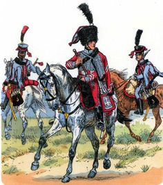 France - 3 Hussars 1806-12, from left to right: trumpet player in uniform, near tamburmajor in uniform near the central company, serial in uniform near. Fig. R. Knotel.