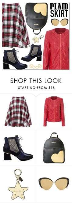 """""""Red plaid skirt"""" by mada-malureanu ❤ liked on Polyvore featuring Love Moschino, Coach, Linda Farrow and Accessorize"""