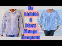 Transforma una Camisa en Blusa Manga Campana - YouTube Sewing Hacks, Sewing Tutorials, Recycled Mens Shirt, Umgestaltete Shirts, Girls Denim Jacket, Diy Vetement, Diy Couture, Shirt Refashion, Old Jeans
