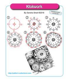 Klokwork. Tangle Pattern and Example by Sandra Strait.