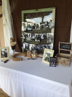 Rustic bridal shower decor>>> love the Cork initial.  I certainly have enough for that!