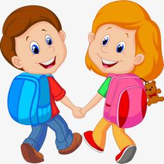 Illustration of Cartoon Boy and girl with backpacks vector art, clipart and stock vectors. Student Cartoon, School Cartoon, Cartoon Kids, Cartoon Clip, Cartoon Posters, Boy And Girl Cartoon, Boy Or Girl, Sundays Child, Girl Reading Book