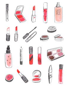 A bunch of makeup, drawn for a project with Yahoo Beauty that didn't end up going ahead. I don't know anything about makeup, but I want Babe Lips and Chill Skin.(Source: Kaye Blegvad)