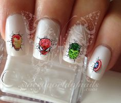 Super Heros Marvel Nail Art Nail Water Decals Transfers Wraps