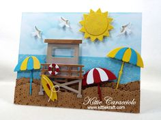 Come see how I made this fun umbrella beach scene card with die cuts. Craft Stick Crafts, Paper Crafts, Cool Umbrellas, Nautical Cards, Beach Cards, Elizabeth Craft Designs, Die Cut Cards, Card Making Techniques, Cards For Friends