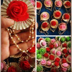Bijoux indiens bijoux traditionnels Gota lot de 50 broches ( Couleurs au choix ) Indian Wedding Favors, Indian Wedding Jewelry, Gota Patti Jewellery, Handmade Rakhi Designs, Rakhi Making, Diy Diwali Decorations, Thread Bangles, Wedding Crafts, Flower Tutorial