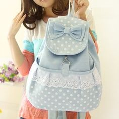 canvas bag,Vintage Pastel Bleu Canvas Backpack girl backpacking