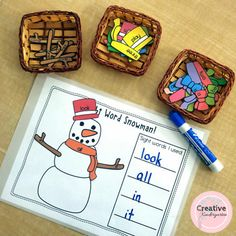 Sight word snowman literacy center for kindergarten students. Sight Word Centers, Word Work Centers, Sight Word Activities, Color Activities, Literacy Activities, Winter Activities, Kindergarten Centers, Teaching Kindergarten, Kindergarten Christmas