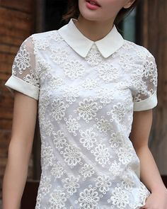 Floral Embroidered Lace Chiffon Shirt