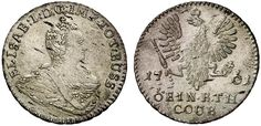 1/6 Taler. Russian Coins. Russian Coinage for East Prussia. Konigsberg mint, 1761. 4,69g. Bit 687. R! Uncirculated. Price realized 2011: 2.200 USD.