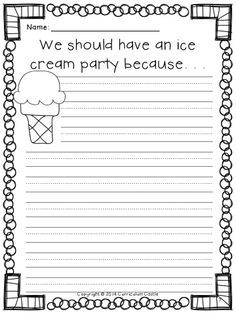 FREEBIE! Persuasive writing ice cream party activity.