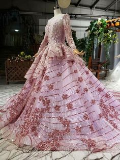 Ostty Pink Long Sleeve Wedding Gowns Flower 16 Party Dress OS0337 Wedding Gowns With Sleeves, Long Sleeve Wedding, Quinceanera Dresses, Prom Dresses, Formal Dresses, Tube Dress, Dress Skirt, Unusual Wedding Dresses, Special Occasion Dresses