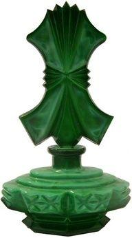 1930's Art Deco green malachite glass perfume bottle. Made in Czechoslovakia.