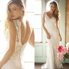 Custom Made 2014 Fashion Sleeveless V-neck vestidos de noiva Sexy Backless A-line Beaded Lace Wedding Dress