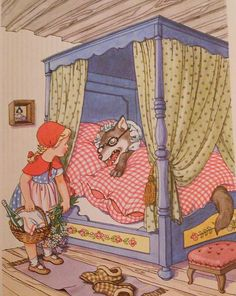 Grimms' Fairy Tales - Little Red Riding Hood (Wolf as Grandma) Full Colour Illustration (a) Wolf Illustration, Children's Book Illustration, Red Riding Hood Wolf, Fairy Tale Crafts, Vintage Fairies, Grimm Fairy Tales, Big Bad Wolf, Fairytale Art, Red Hood