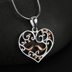 Silver Pendants – Silver Bird Necklace pendant gold plated heart – a unique product by TO_Design on DaWanda