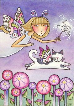 Garden Fairy with Winged Cat Original by SusanFayePetProjects, $125.00