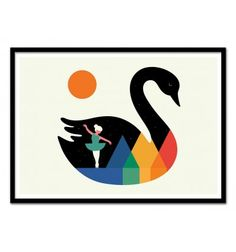 Art-Poster 50 x 70 cm - Swan Dance - Andy Westface - Baby room  Illustration. Art-Poster and prints published by Wall Editions.