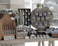 www.kamalion.com.mx - Mesa de Dulces / Candy Bar / Postres / Evento / Gris & Azul / Gray & Blue / Vintage / Rustic Decor.