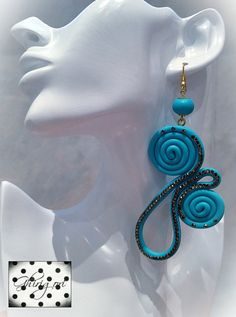 clear crystal blue sky polymer clay earrings by ghjrigori on Etsy, $30.00
