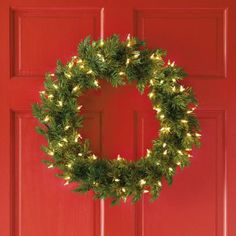 Pre-Lit Balsam Fir Wreath found at Wreaths And Garlands, Holiday Wreaths, Holiday Decor, Battery Operated Christmas Wreath, Balsam Fir Christmas Tree, Pre Lit Wreath, Christmas Tree Collection, Light Colors, Christmas Crafts