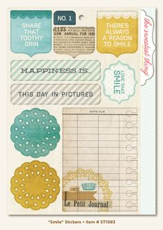 "My Mind's Eye - ""Smile"" Cardstock Stickers for $0.89. For that price, I'll take 5!"