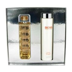 Boss Orange by Hugo Boss Gift Set -- 2.5 oz Eau De Parfum Spray + 6.7 oz Body Lotion by Hugo Boss. $52.95. Actress Sienna Miller is the face of this luscious floral scent for women. Top notes of sweet apple meld with the most feminine and intriguing floral heart which includes an abundance of white flowers and fragrant orange blossom. The passionate and warm base includes sandalwood olive wood and creamy vanilla.