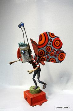 gérard collas -sculpteur,assemblage,homme papillon,sculpture