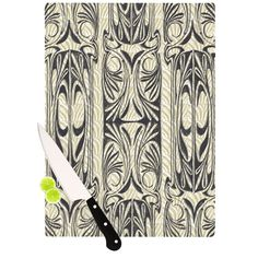 "Vikki Salmela ""The Palace"" Tan Black Cutting Board from KESS InHouse #deco #nouveau #modern #ornamental #decorative #stripe #art on #cutting #board for #home #decor #kitchen #gift #apartment."