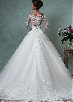 Buy discount Romantic Tulle Off-the-shoulder Neckline A-line Wedding Dresses With Lace Appliques at Dressilyme.com