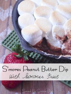 S'mores Peanut Butter Dip- this recipe is great for indoor summer fun and surprise guests! Make this crowd-pleasing S'mores Peanut Butter Dip!