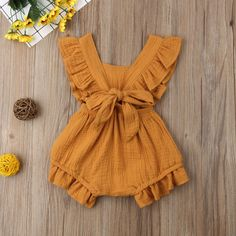 Sewing Baby Girl Ruffle Solid Romper - Perfect ruffled romper for your little fashionista 6 different colors available With snaps for easy diaper change Your baby girl deserves to look outstanding and get tons of compliments Baby Girl Fashion, Fashion Kids, Girl Tops Fashion, Girls Fashion Clothes, Toddler Fashion, Fashion Fashion, Fashion Trends, Ruffle Romper, Jumpsuit Outfit