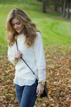 3/4 sweater over shirt--white on white