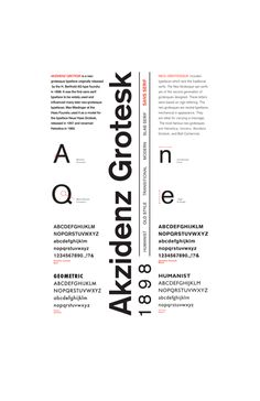 Akzidenz-Grotesk was origninally released by the Berthold Type Foundry under the name Accidenz-Grotesk. This is a very clean and plain design but its simplicity is not a negative and it is important to remember to keep things simple.