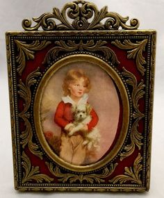 Vintage Antique Ornate Brick Red Brass Picture Frame Made in Italy 1900-1940 B-4 #Baroque