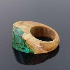 Green Ring. Resin Wood Ring Wood and Resin Ring. by artfulresin www.artfulresin.etsy.com