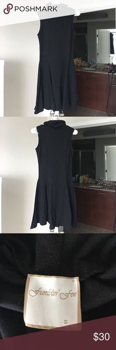 """High-Neck Little Black Dress 34"""" shoulder to hem and fits true to size. Fitted at the waist with kick pleats at the bottom. Very small amounts of pilling that are almost unnoticeable, but otherwise great condition and wonderful for dressy occasions! Fumblin' Foe Dresses"""