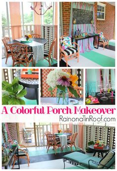 Easy, but colorful updates - perfect for a party! A Colorful Screened-In Porch Makeover via RainonaTinRoof.com