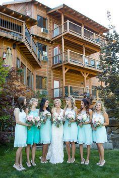 Bridesmaids Idea: Bridesmaids in mint dresses with cream shoes lovewc.me/mintbridesmaid